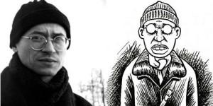 El autor y como se dibuja a sí mismo.